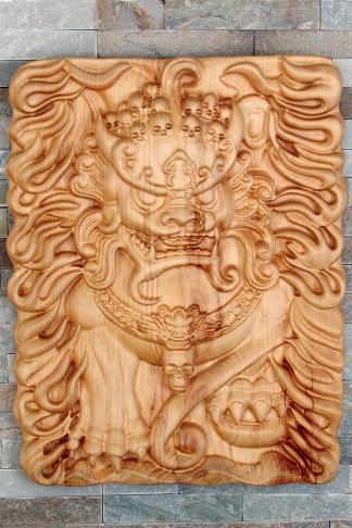 Gravure 3D d'un lion gardien chinois